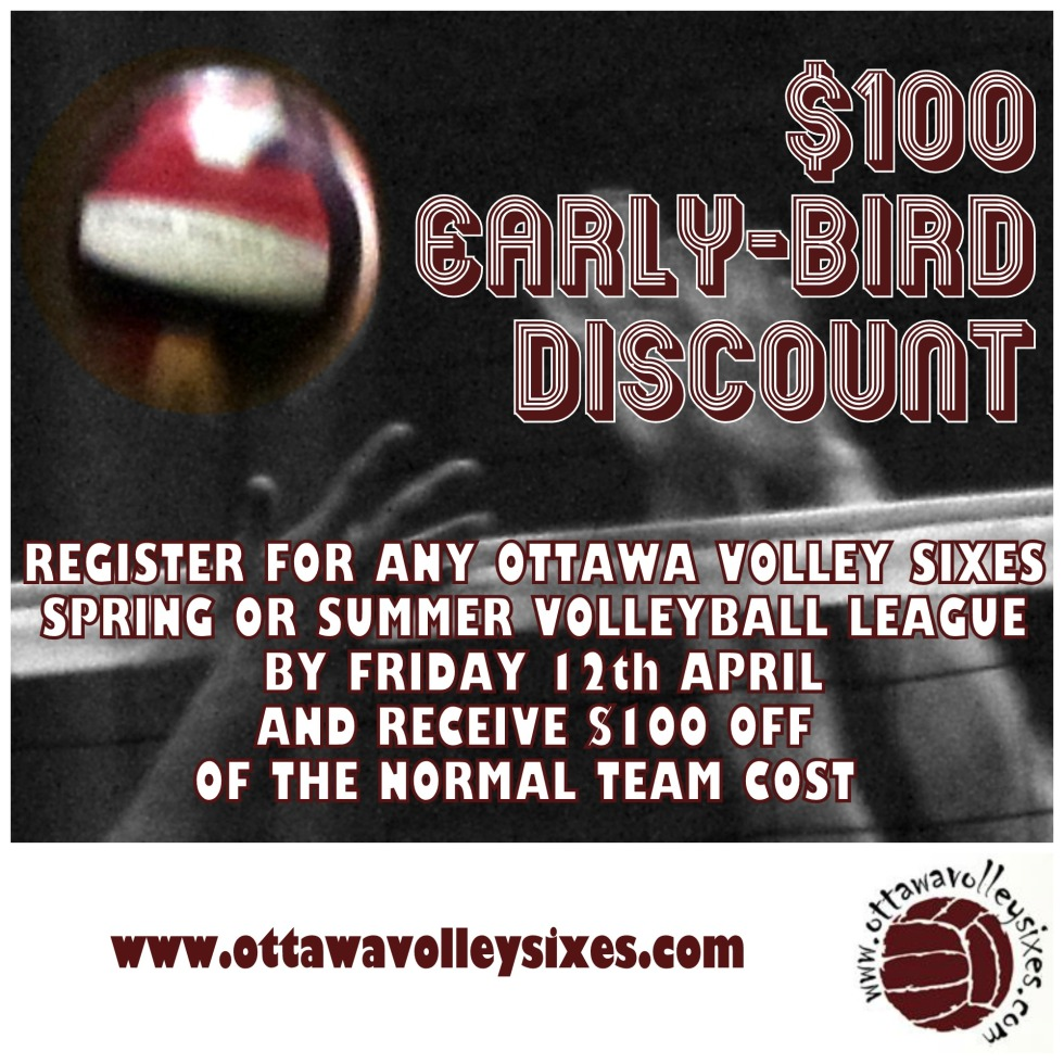 Ottawa Volley Sixes Early Bird Discount
