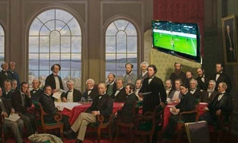 Fathers of Confederation with soccer